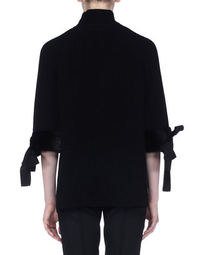Mock-Collar Fur-Cuff Cashmere Top