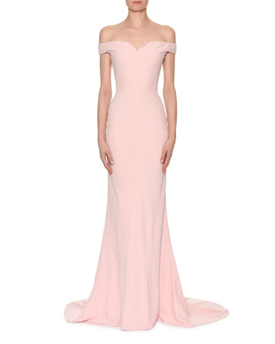 Off-Shoulder Crepe Bustier Gown