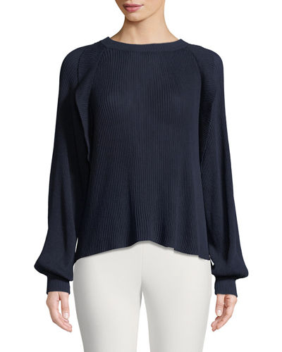 Crewneck Long-Sleeve Pleated Silk Cotton Sweater