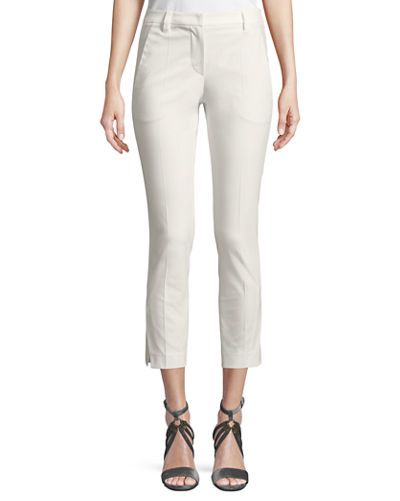 Cropped Stretch-Cotton Pants