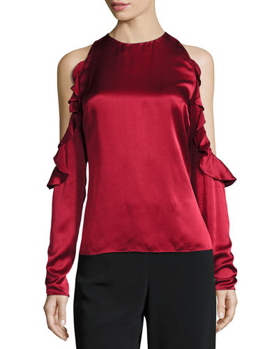 Ruffled Cold-Shoulder Satin Blouse