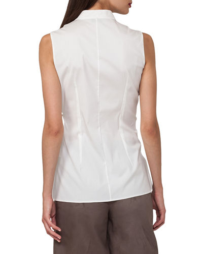 Sleeveless Wrap-Front Buckle Cotton Poplin Blouse