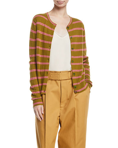 Striped Knit Cashmere Cardigan