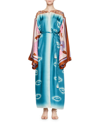 Ramidos Lip-Print Kimono Dress w/Foulard Sleeves
