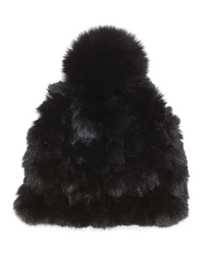 Knitted Fur Pom-Pom Hat