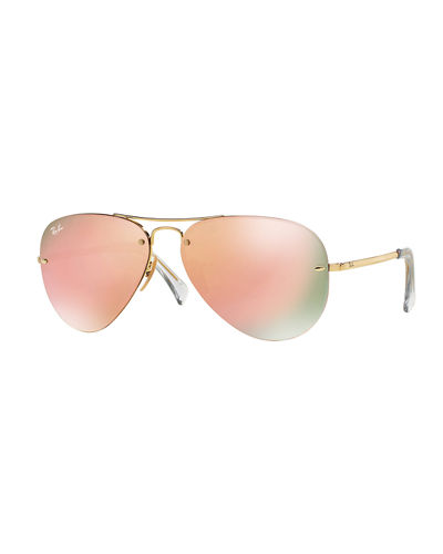 Rimless Mirrored Iridescent Aviator Sunglasses