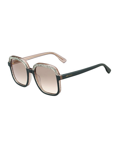 Glam Glittered Two-Tone Square Sunglasses