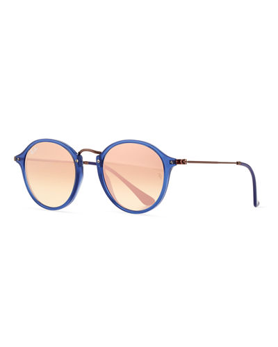 Gradient Iridescent Round Flash Sunglasses