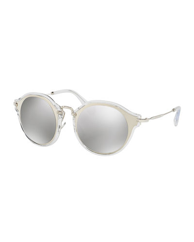 Trimmed Mirrored Round Sunglasses