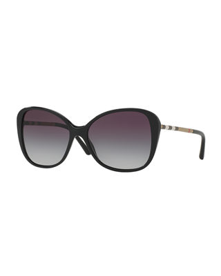 BURBERRY GRADIENT CHECK SQUARE BUTTERFLY SUNGLASSES, BLACK