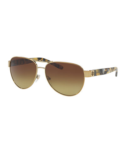 Gradient Contrast-Arm Aviator Sunglasses, Tortoise/Gold