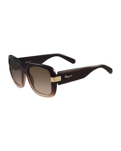 Salvatore Ferragamo Gancio Two-Tone Square Sunglasses