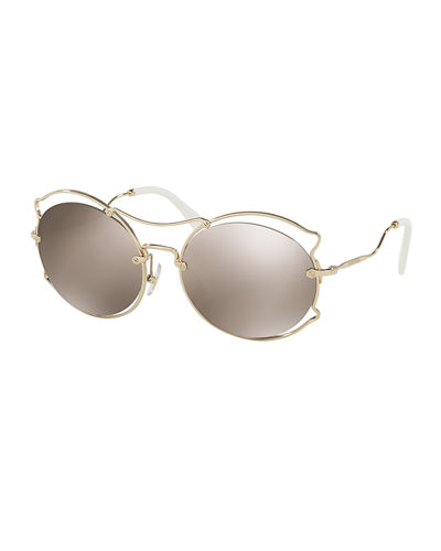 Waved Mirrored Open-Inset Sunglasses