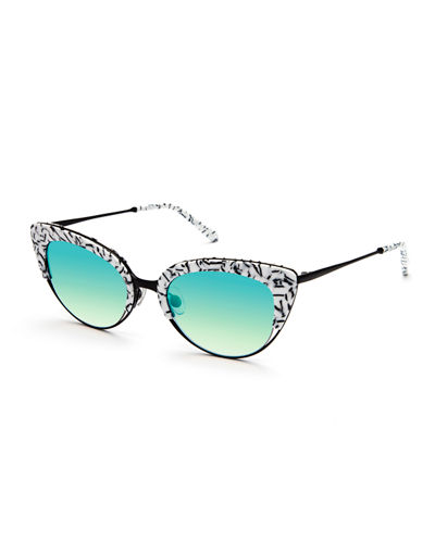 KREWE Josephine Mirrored Cat-Eye Sunglasses