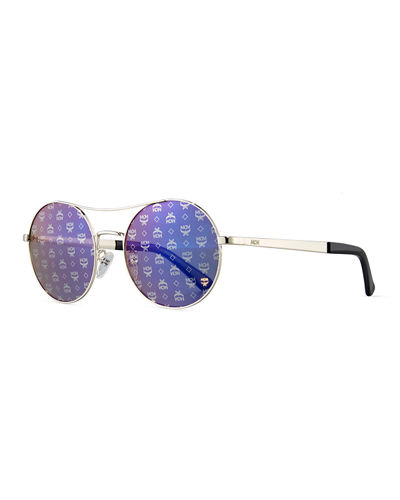 Round Mirrored Logo-Print Sunglasses