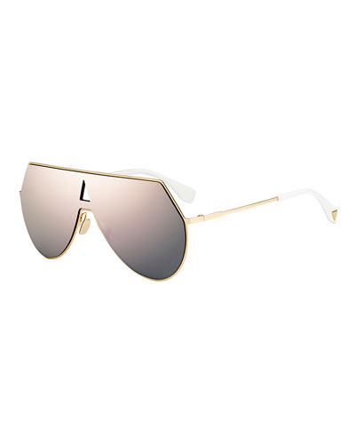 Fendi Eyeline Mitered Shield Sunglasses