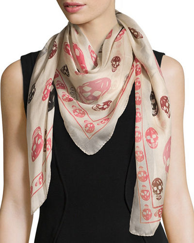 Silk Mixed Skull Foulard Scarf