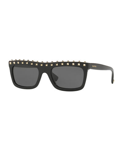 Soul Rockstud Flat-Top Monochromatic Sunglasses