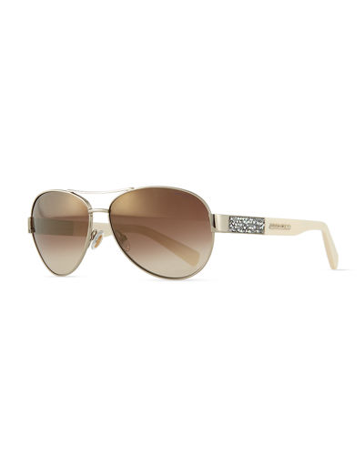 Babas Crystal-Temple Aviator Sunglasses