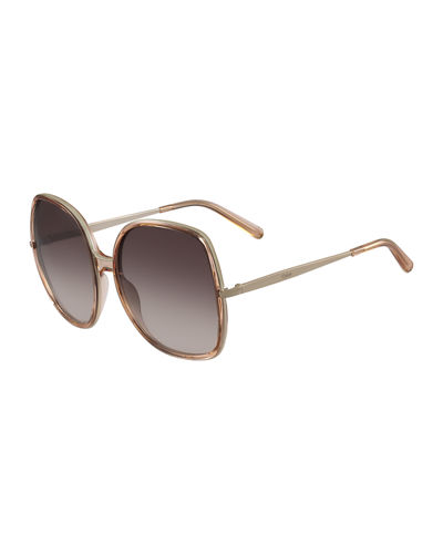 Chloe Oversized Square Metal Sunglasses