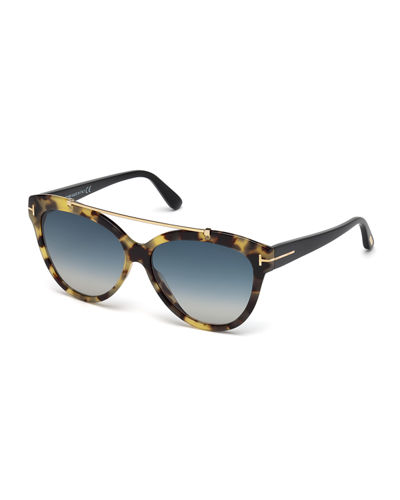TOM FORD Livia Cat-Eye Brow-Bar Sunglasses