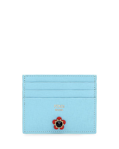 Floral-Studded Leather Card Case