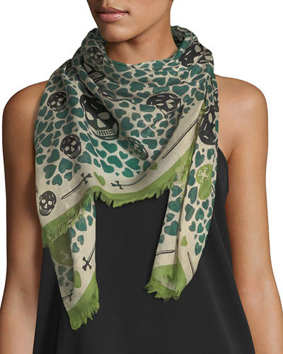 Silk Skull and Heart-Print Scarf