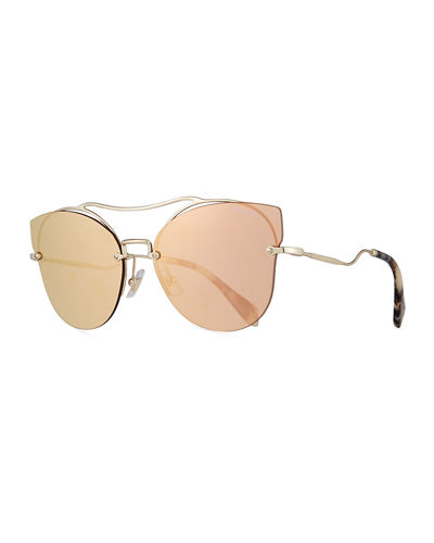 Miu Miu Scenique Rimless Mirrored Brow-Bar Sunglasses, Light
