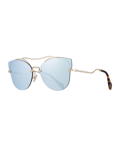 Scenique Rimless Mirrored Brow-Bar Sunglasses, Light Gold