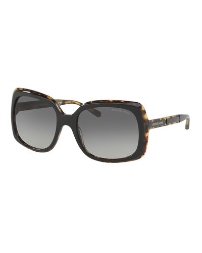 Michael Kors Square Plastic Logo-Temple Sunglasses