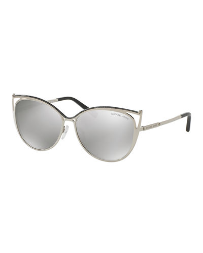 Metal Mirrored Cat-Eye Sunglasses