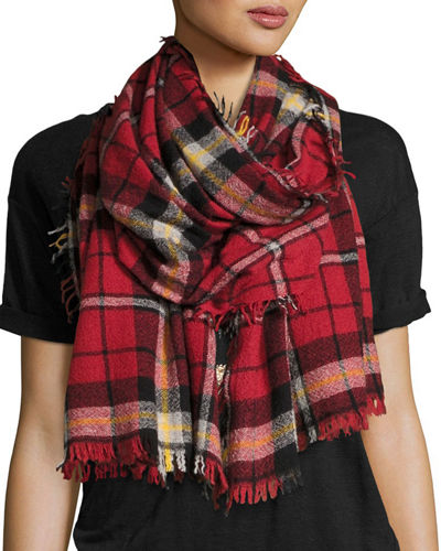 Loria Plaid Wool-Silk Scarf