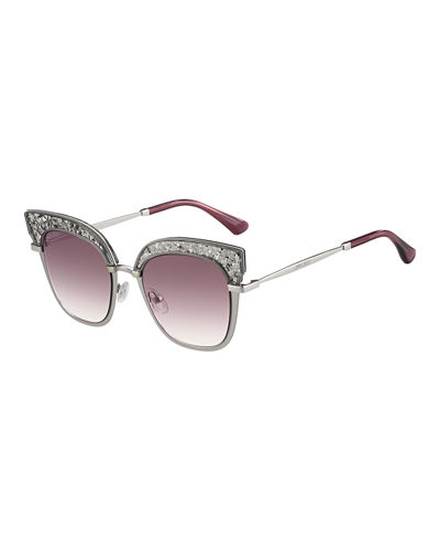 Rosy Square Glittered Sunglasses
