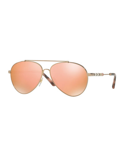 Aviator Sunglasses with Check Temples
