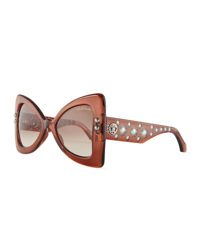Studded Chunky Geometric Sunglasses