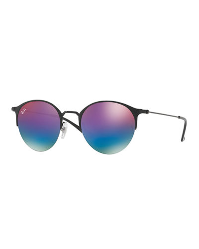 Mirrored Iridescent Round Sunglasses