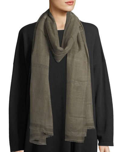 Two-Tone Open Weave Cashmere Scarf