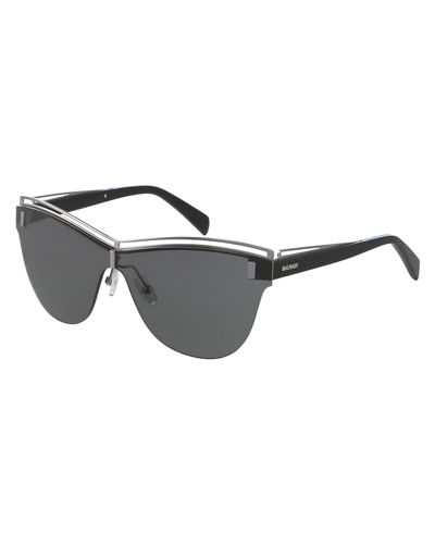 Balmain Semi-Rimless Shield Sunglasses
