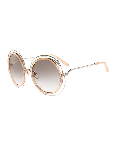 Carlina Trimmed Round Sunglasses