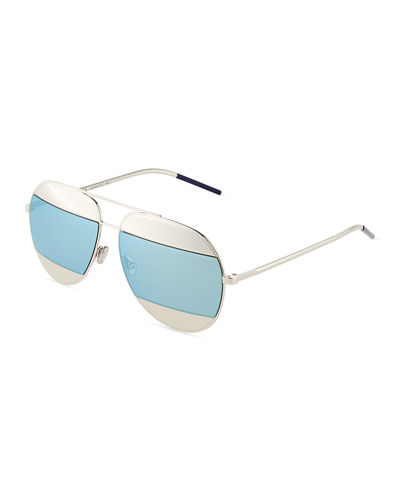 DiorSplit Two-Tone Metallic Aviator Sunglasses