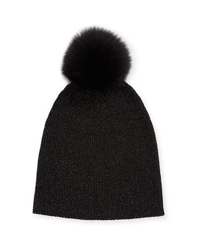 Metallic Knit Fur-Pom Beanie Hat