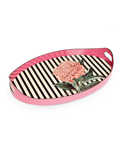 Striped Oval Tray with Handles