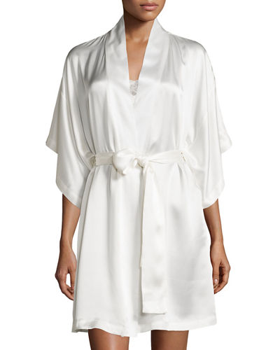 Jasmine Short Silk Wrap Robe