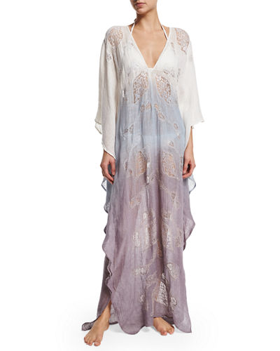 Lima Long-Sleeve Ombre Caftan Coverup