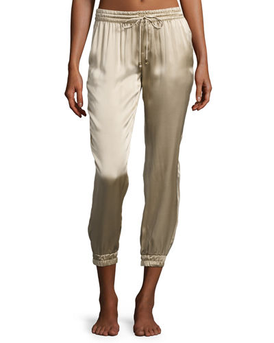Cropped Satin Lounge Track Pants