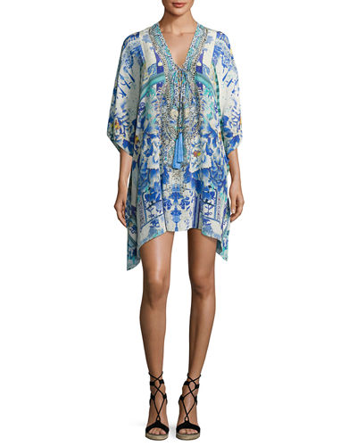 Short Lace-Up Caftan Coverup, Antique Batik