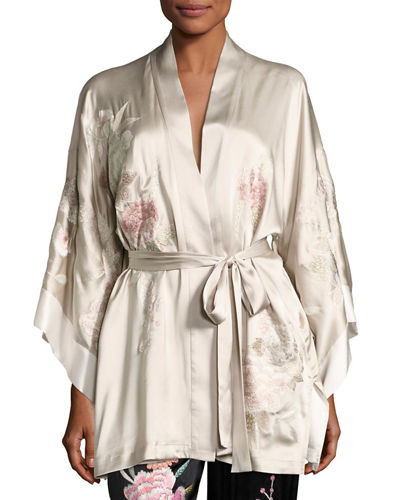 Lola Floral-Embroidered Wrap Robe