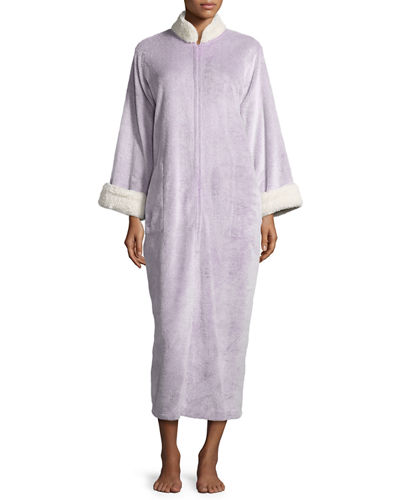 Faux-Fur Zip-Front Caftan, Plus Size