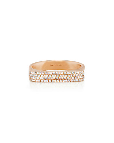 14K Gold Jumbo Bar Ring with Diamonds