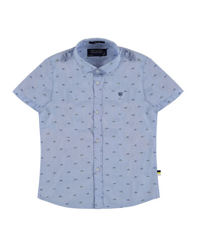 Short-Sleeve Printed Poplin Shirt, Size 3-7